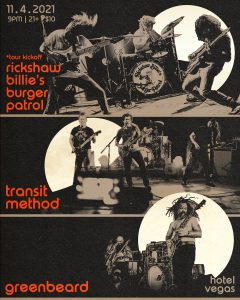 Rickshaw Billie's Burger Patrol (Tour Kickoff), Transit Method, Greenbeard